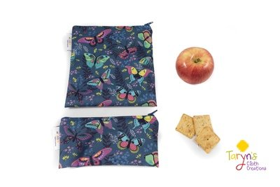 Reusable Snack and Sandwich Bag Set -Butterflies on Blue