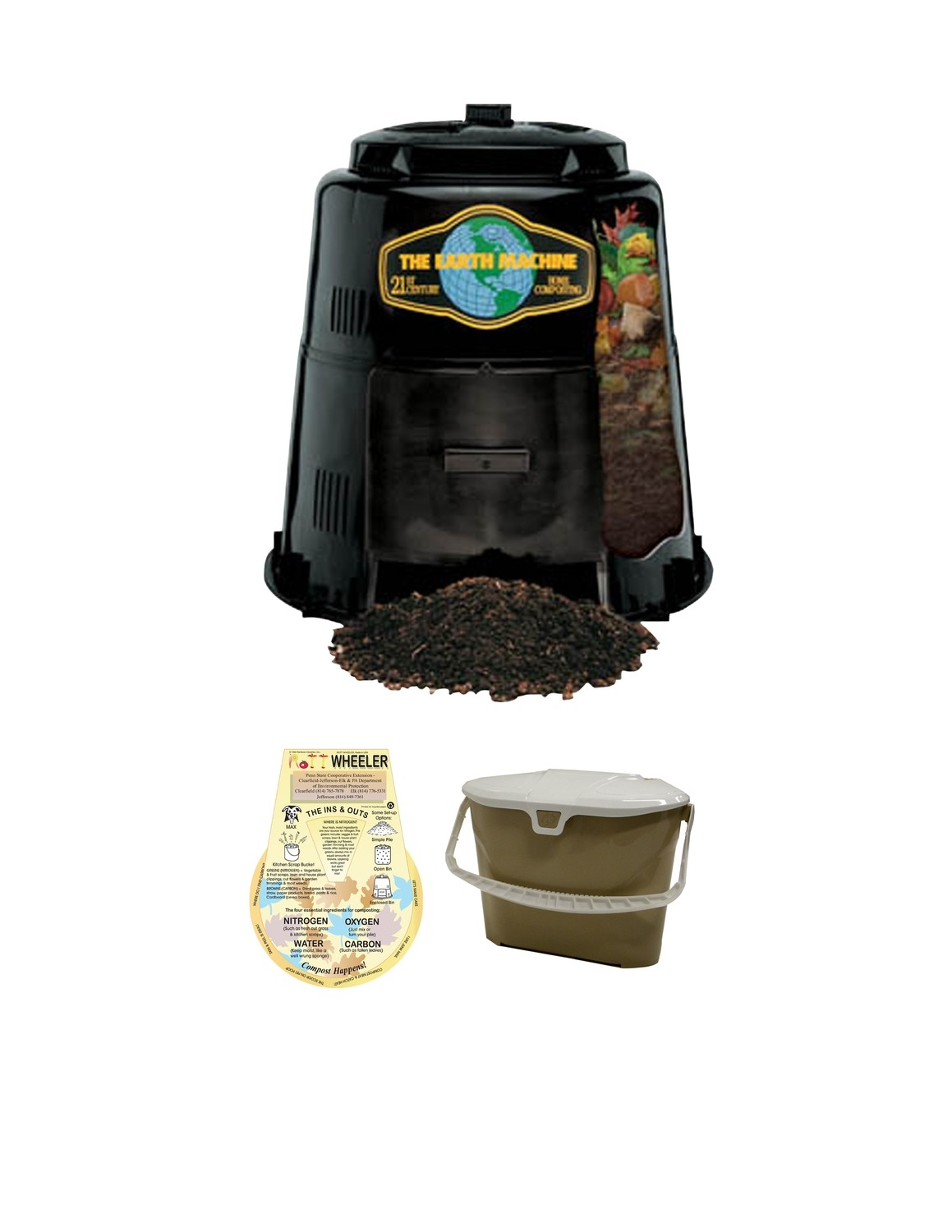 KIT 1: Earth Machine Composter *Includes Rottwheeler & Tan Kitchen Pail