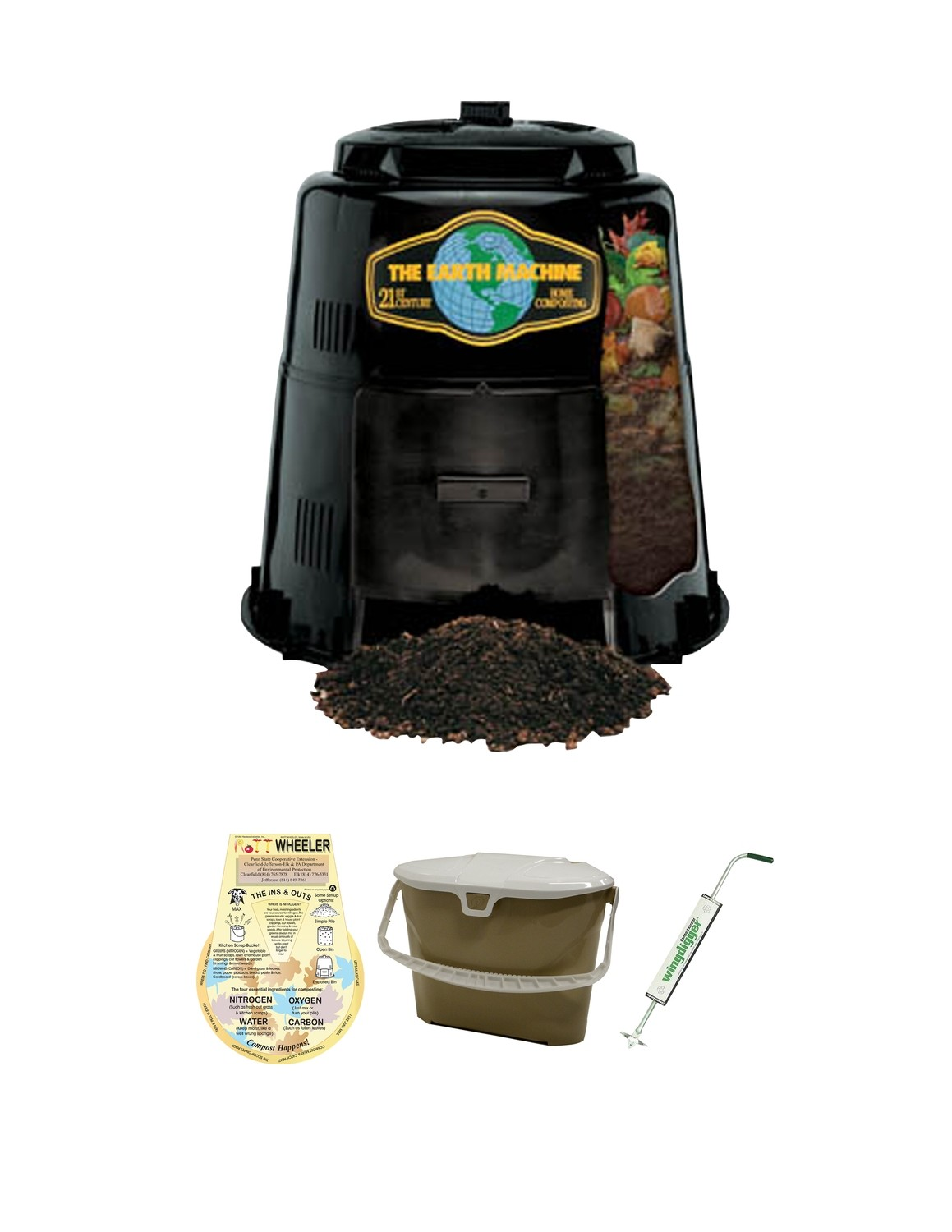 KIT 2: Earth Machine Composter *Includes Rottwheeler, Tan Kitchen Pail & Wingdigger