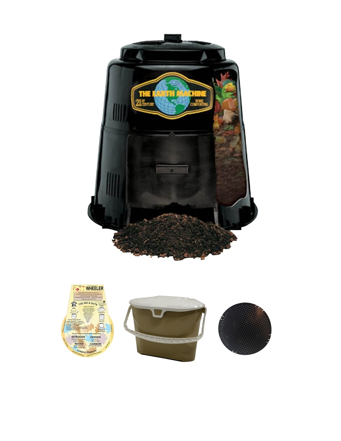 KIT 3: Earth Machine Composter *Includes Rottwheeler, Tan Kitchen Pail & Rodent Screen
