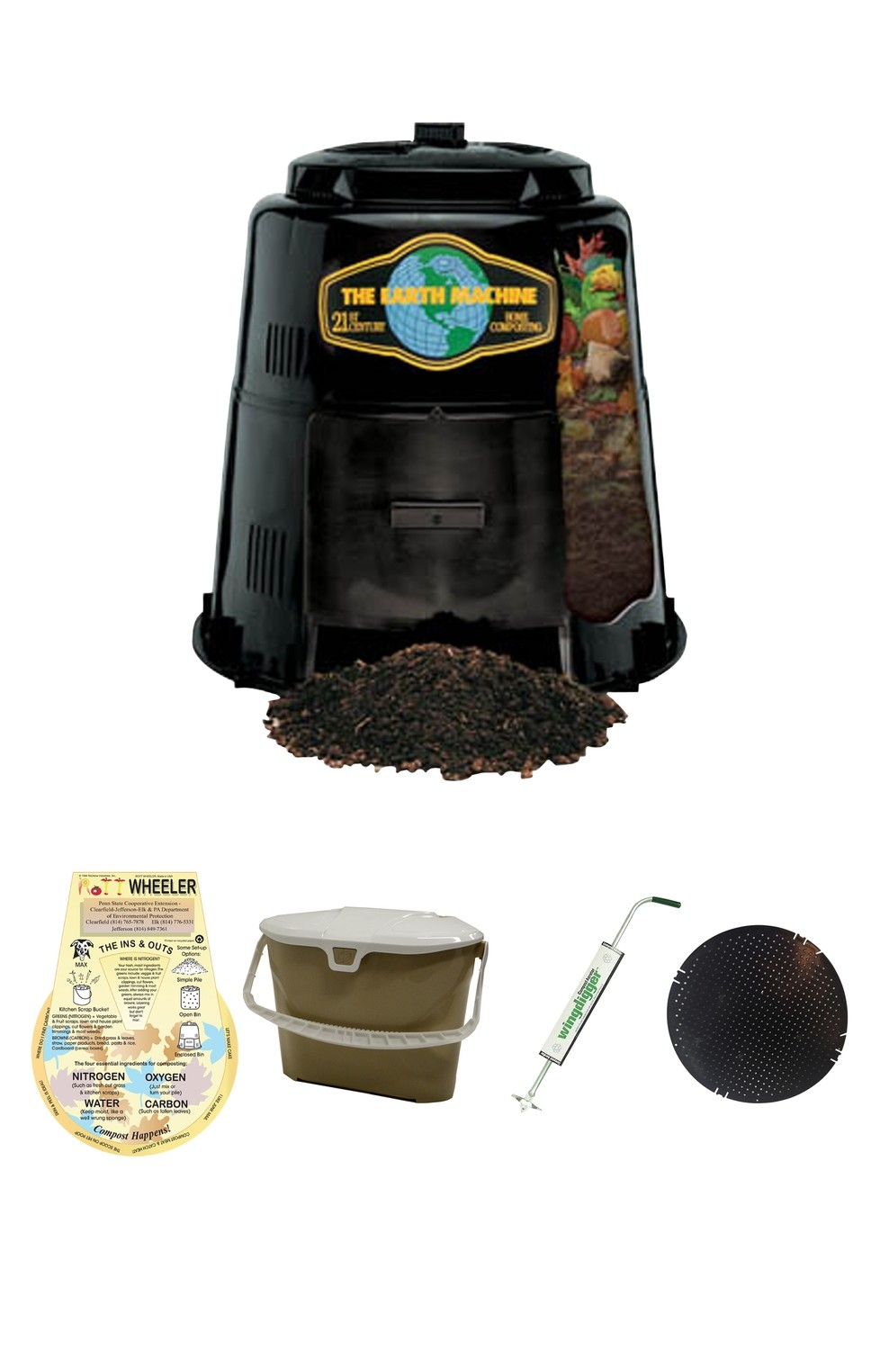 KIT 4: Earth Machine Composter *Includes Rottwheeler, Tan Kitchen Pail, Aerator & Rodent Screen