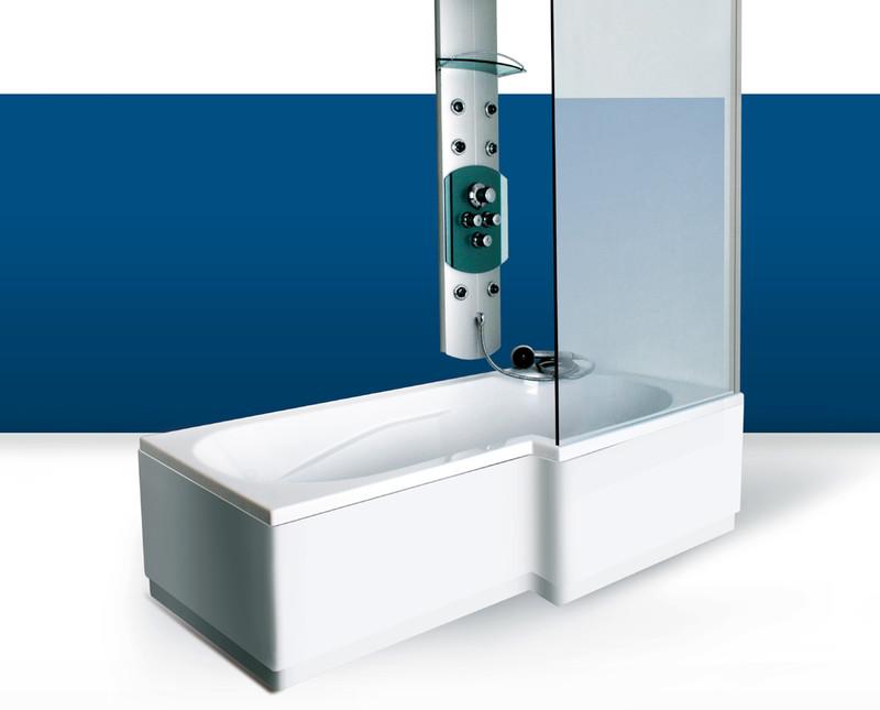 Paroi de baignoire Innovativ en verre trempé d'épaisseur 8 mm avec profilé inox chromé