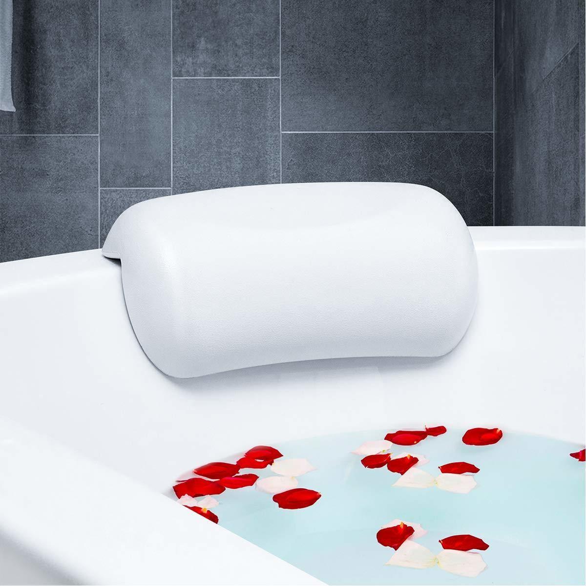 Repose-tête blanc de forme arrondie, ergonomique et anti-dérapant pour baignoire