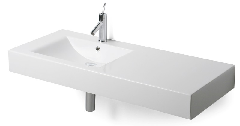 Plan-vasque Spazio 120 décentré moulé en poudre de marbre