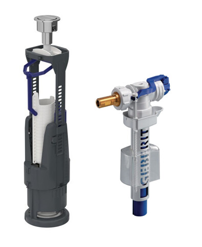 Mécanisme de chasse complet Geberit à double poussoir 3/6 litres + robinet flotteur (pour tous types de réservoirs apparents)