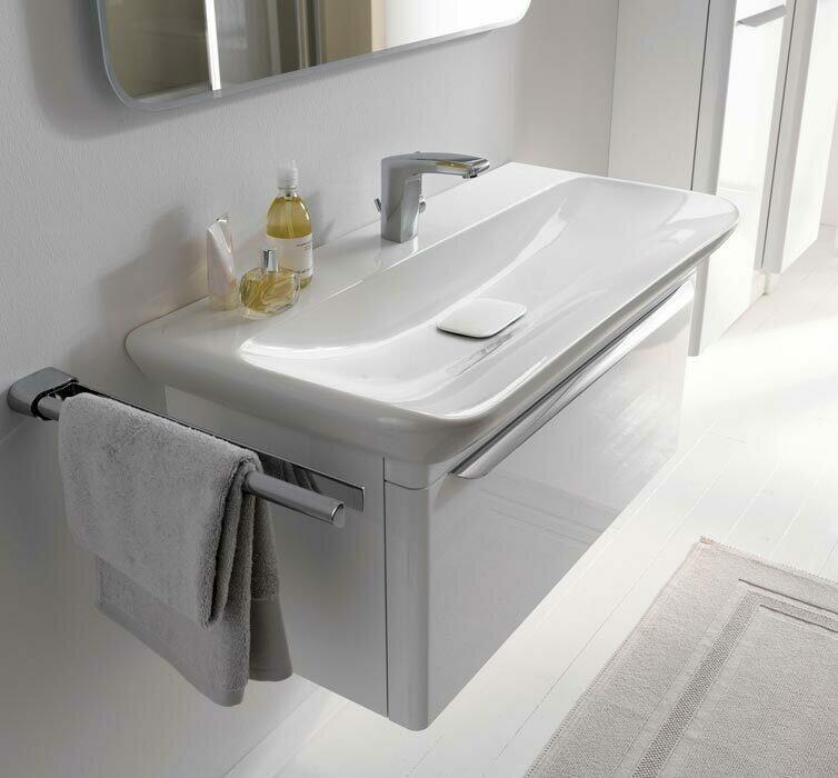 Meuble Keramag pour lavabo Keramag myDay 100 cm en blanc laqué ultra-brillant