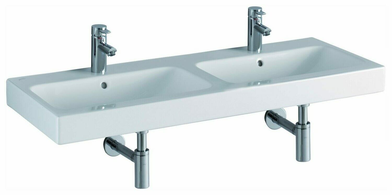 Lavabo double Keramag iCon 120 cm avec deux trous pour robinetterie