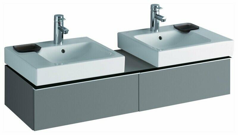 Meuble Keramag pour deux lavabo iCon 50 cm en platine ultra-brillant