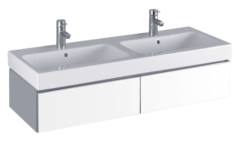 Meuble Keramag pour lavabo double Keramag iCon 120 cm en blanc laqué ultra-brillant