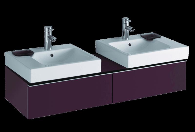 Meuble Keramag pour deux lavabo iCon 50 cm en rouge bordeaux