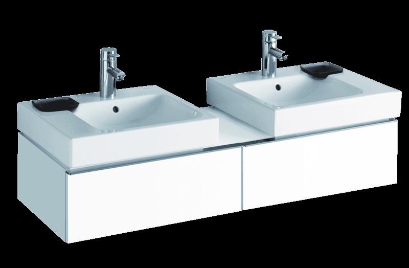 Meuble Keramag pour deux lavabo Keramag  iCon 50 cm en blanc laqué ultra-brillant