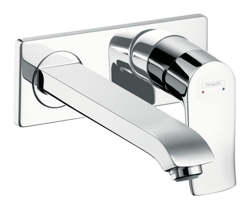Mitigeur de lavabo encastré Hansgrohe Metris avec bec de 225 mm en laiton chromé
