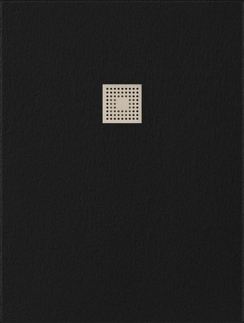 Receveur rectangulaire Vulcano extra-plat (130 à 150)  x 80 cm avec grille design en inox et vidage
