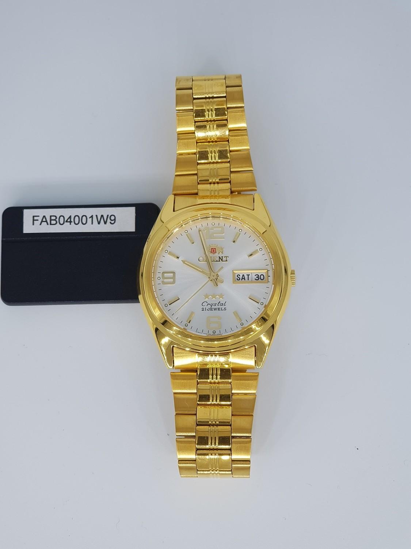 Reloj hombre automático Orient 3 Star FAB04001W DORADO BLANCO correa acero