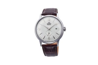 Reloj hombre automático Orient BAMBINO RA-AP0002S esfera plateada correa cuero marrón