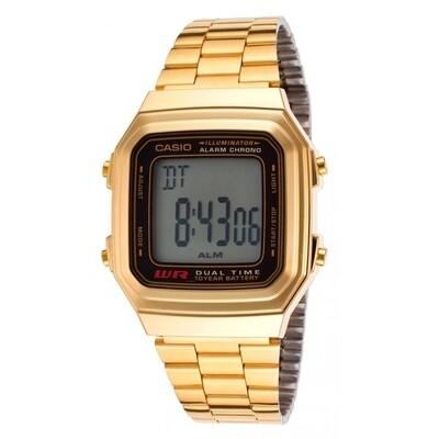 Reloj casio collection a178wga-1a estilo retro - cronografo multifuncional - acero inoxidable