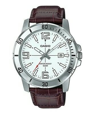 Reloj analogico caballero CASIO MTP-VD01L-7BV correa de piel marron