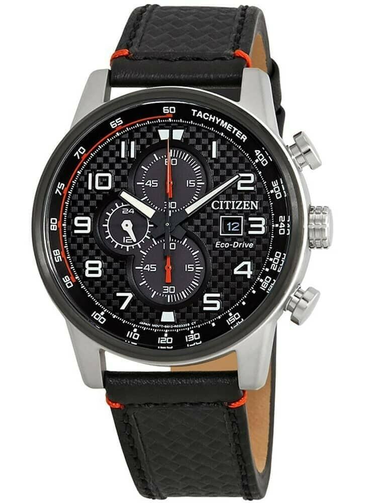Reloj Hombre Citizen Eco-Drive Men's Chronograph Black Leather 45mm Watch CA0681-03E