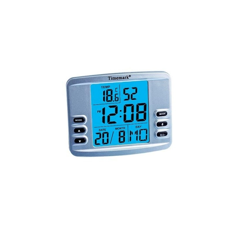 Reloj Digital Con Alarma Y Termómetro Timemark CL98 Gris
