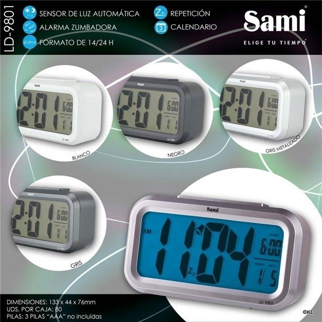 Sami Despertador Digital XL Sensor Luz LD-9801 NEGRO