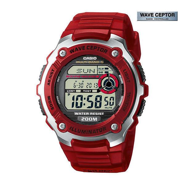 reloj hombre radiocontrol Casio Men's WV-200A-4A WaveCeptor Red Watch
