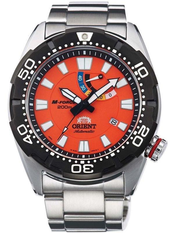 "Reloj hombre ORIENT M-FORCE ""Bravo"" Diving Sports Automatic Power Reserve 200M SEL0A003M cristal zafiro"