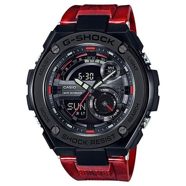 reloj hombre Casio G-SHOCK Men's G-Steel GST210M-4A Super Illuminator Hora Mundial Red Resin Band Watch