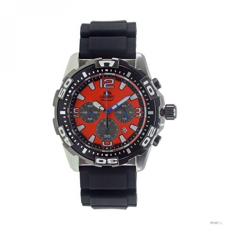 reloj hombre Orient FTW05005M Sports Knight chrono esfera naranja correa caucho