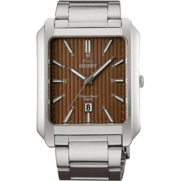 reloj hombre Orient FUNDR001T rectangular marrón chocolate acero inoxidable fecha