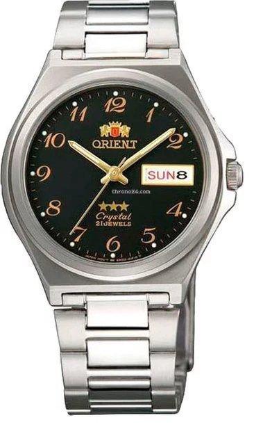 Reloj hombre automático Orient 3 Star FAB02004B NEGRO plata correa acero