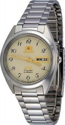 Reloj hombre automático Orient 3 Star FAB02004C beige plata correa acero