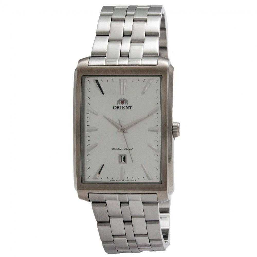 reloj hombre Orient FUNEJ003W caja rectangular plateada correa acero cuarzo