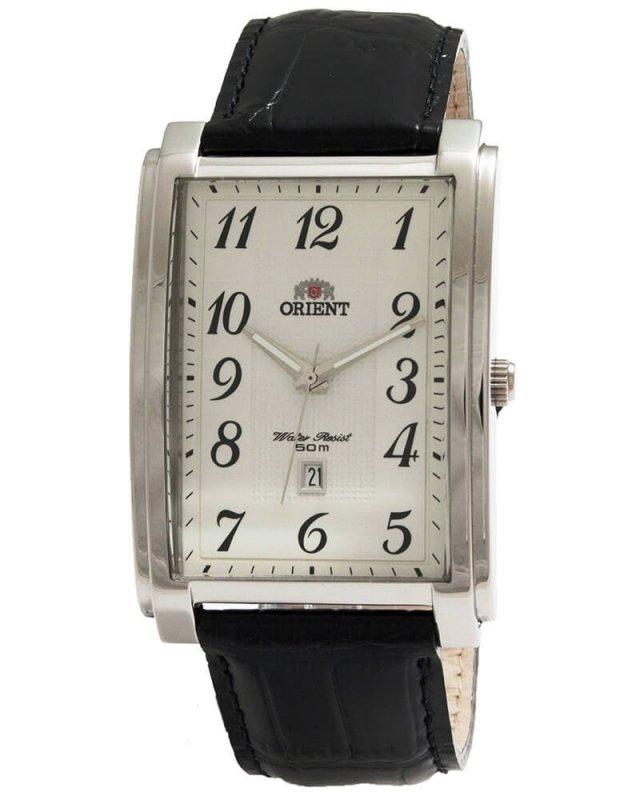 reloj hombre Orient FUNED004W caja rectangular blanca correa cuero