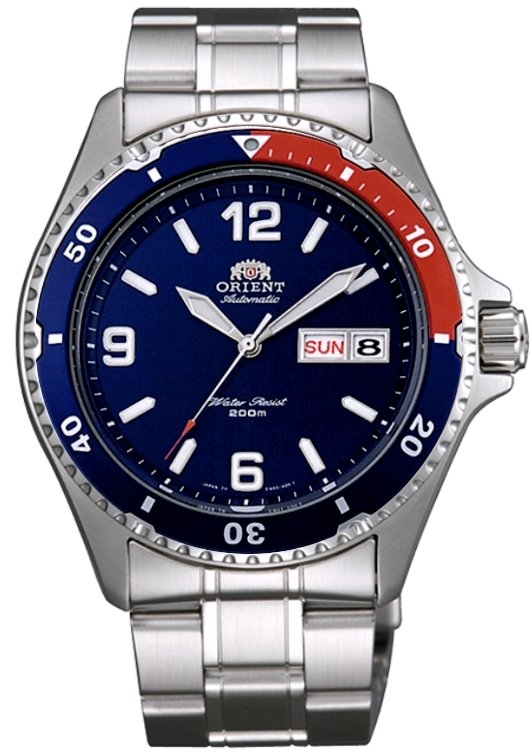 "Reloj hombre automático Orient Mako II diver FAA02009D ""Pepsi"" correa acero azul rojo"