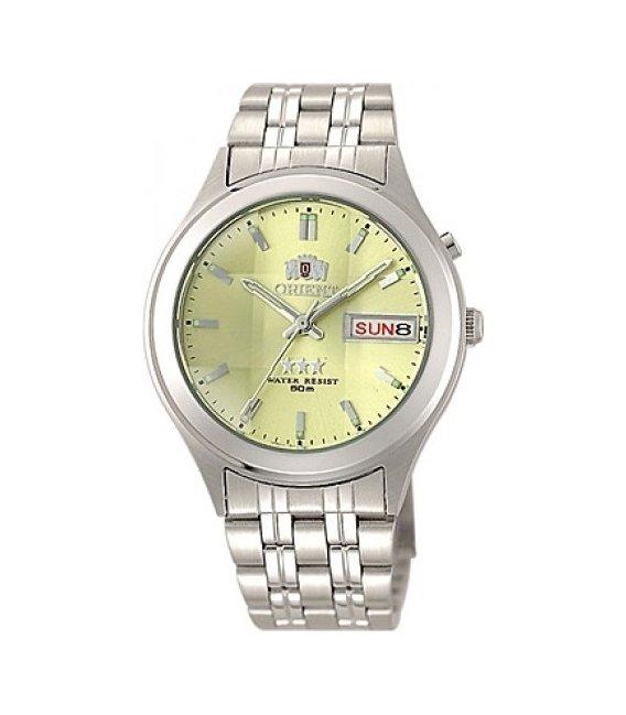 reloj hombre automático Orient 3 Star FEM5V002C dial oro-plata correa acero dia fecha