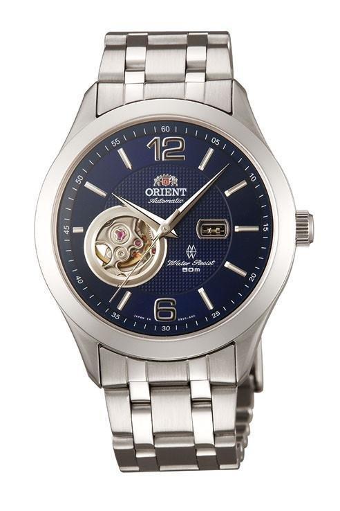reloj hombre automático Orient Skeleton FDB05001D cristal zafiro dial azul correa acero