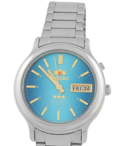 Reloj hombre automático Orient 3 Star FEM02021L plateado azul corra acero