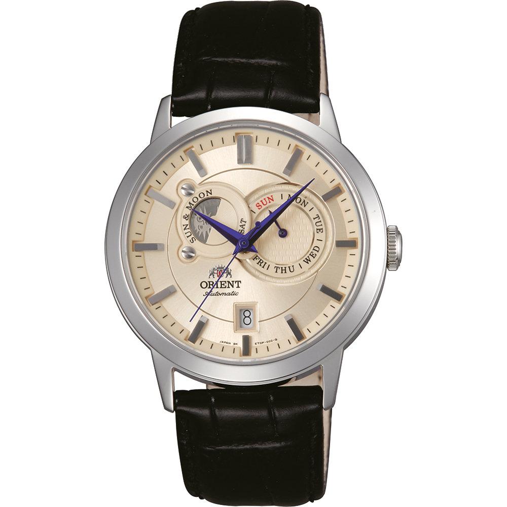 reloj hombre automático Orient Sun and Moon FET0P003W Beige cristal zafiro correa cuero