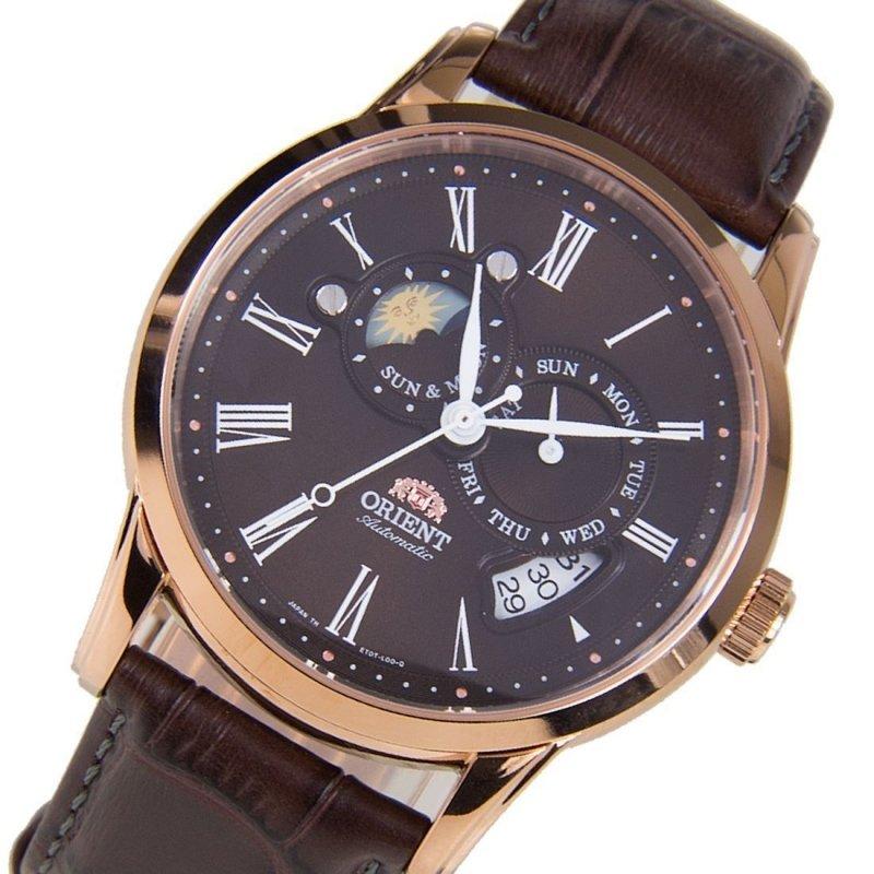 reloj hombre automático Orient Sun and Moon FET0T003T Chocolate Cristal zafiro correa cuero
