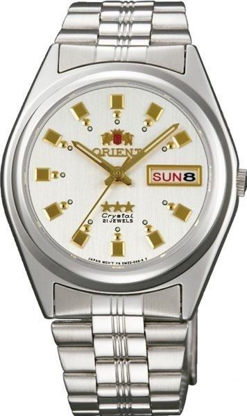 Reloj hombre automático Orient 3 Star FAB04003W BLANCO PLATA correa acero
