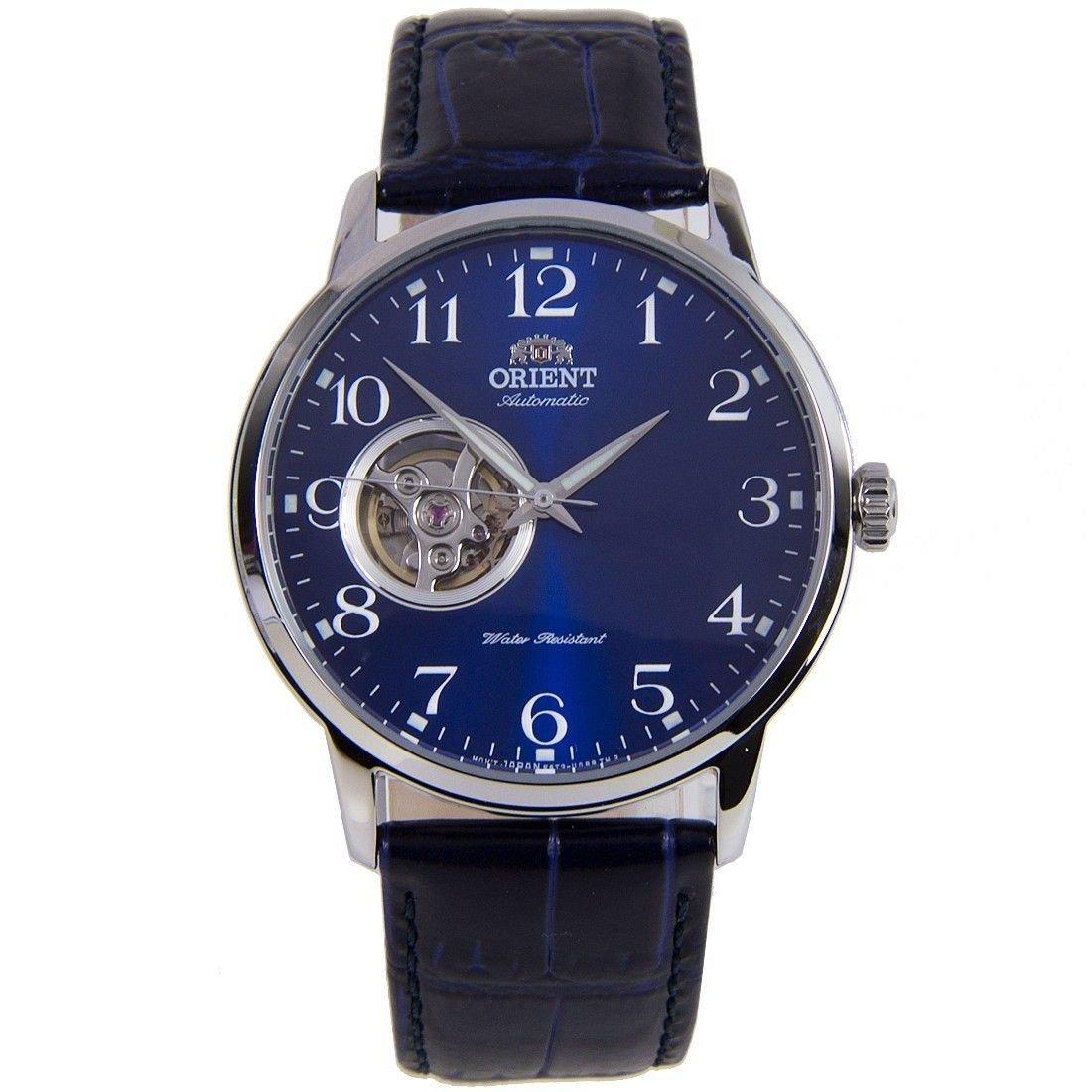 reloj hombre automático Orient Bambino Open Heart orient RA-AG0011L dial azul correa cuero