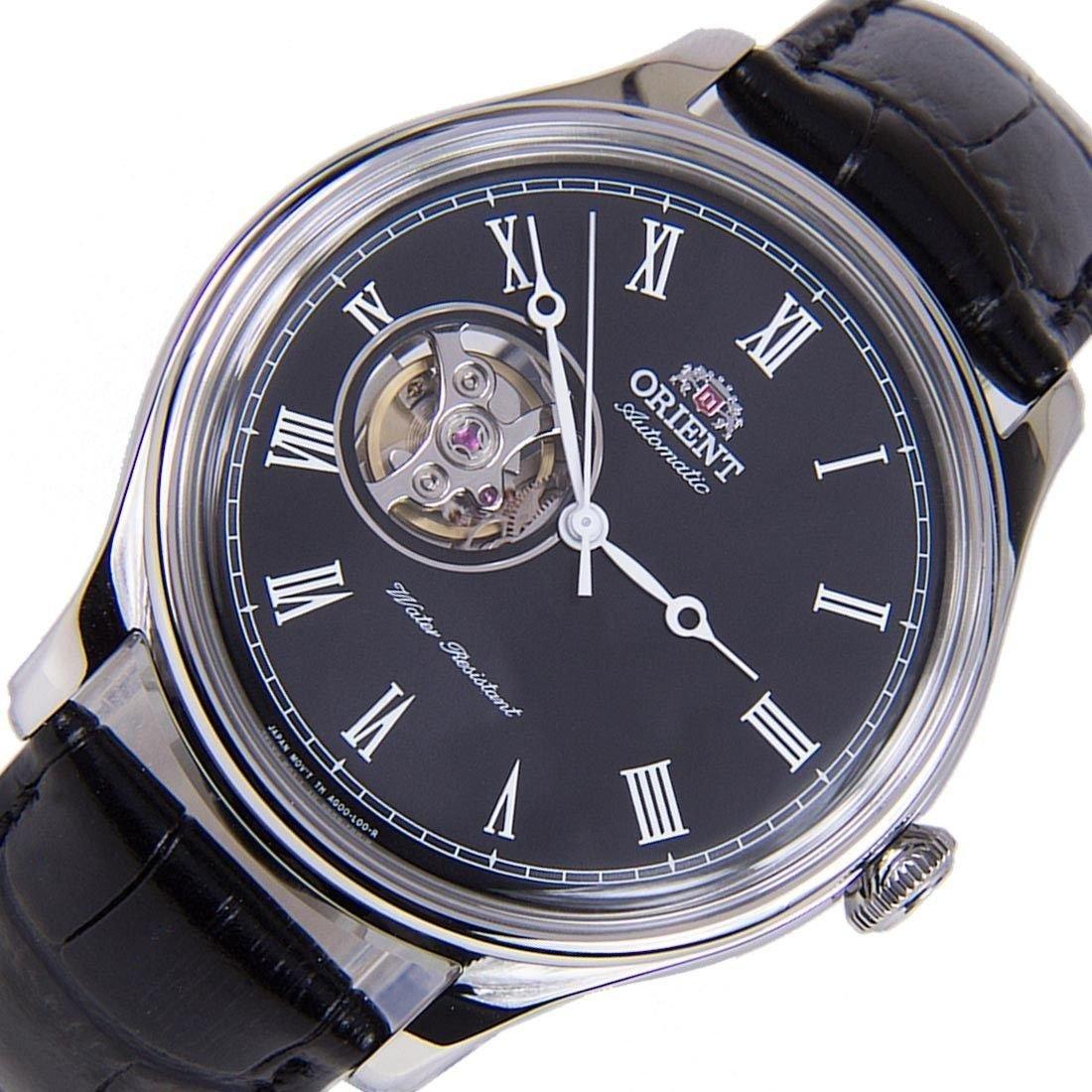 reloj hombre automático Orient Open Heart FAG00003B dial negro cuero