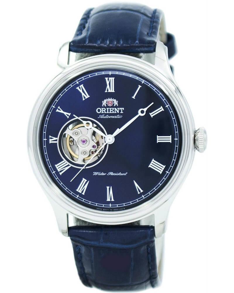 reloj hombre automático Orient Open Heart FAG00004D cuero dial azul