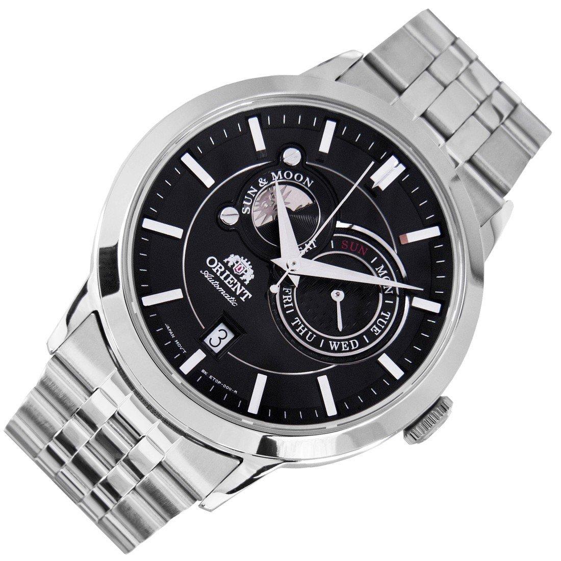 reloj hombre automático Orient Sun and Moon FET0P002B cristal zarifo acero