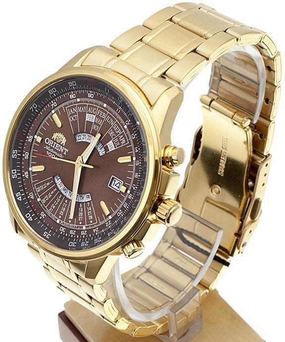 reloj hombre automático Orient multi-year FEU07003T dorado chocolate acero