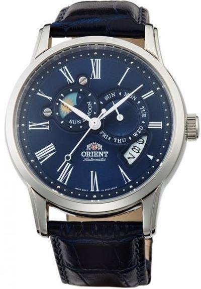 reloj hombre automático Orient Sun and Moon FET0T004D dial azul