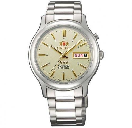 Reloj hombre automático Orient 3 Star FEM02021C plateado beige corra acero