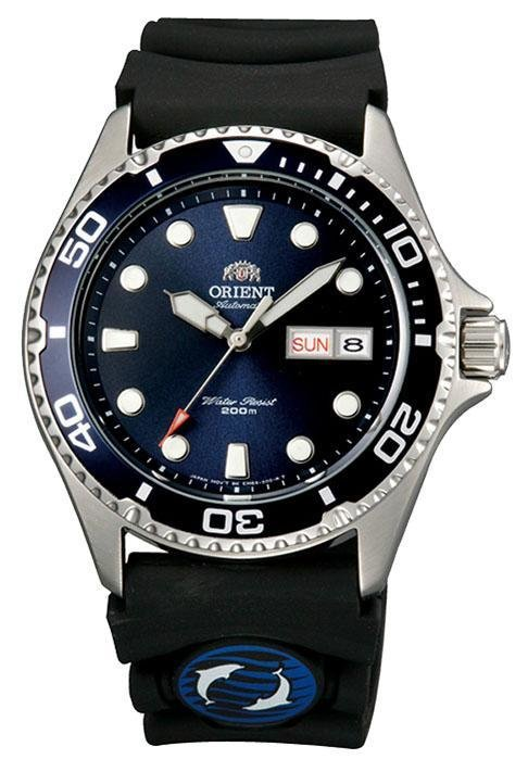 reloj hombre automático Orient Mako Ray II FAA02008D dial azul correa goma Español Dato requerido