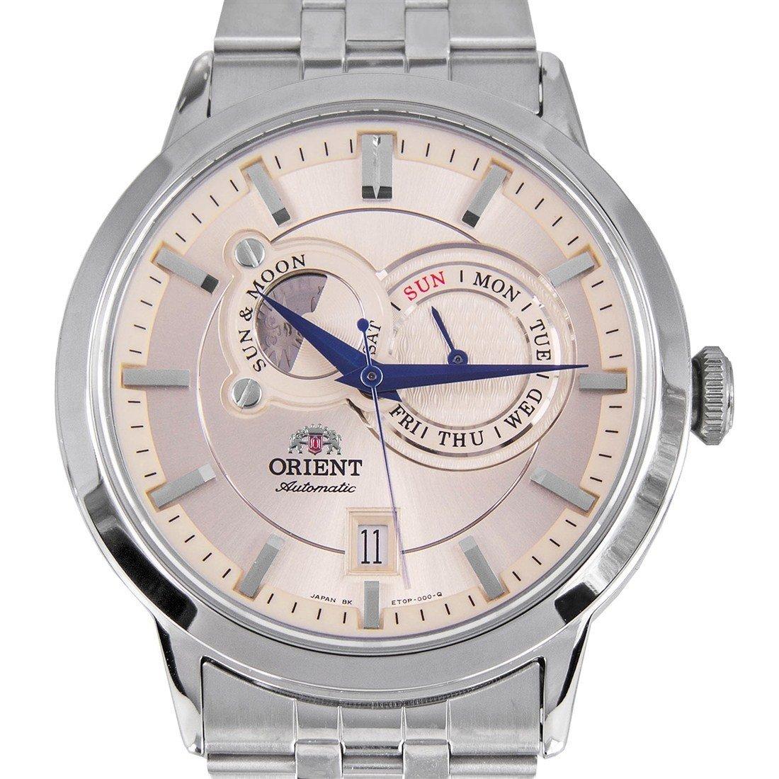 reloj hombre automático Orient Sun and Moon FET0P002W cristal zarifo acero