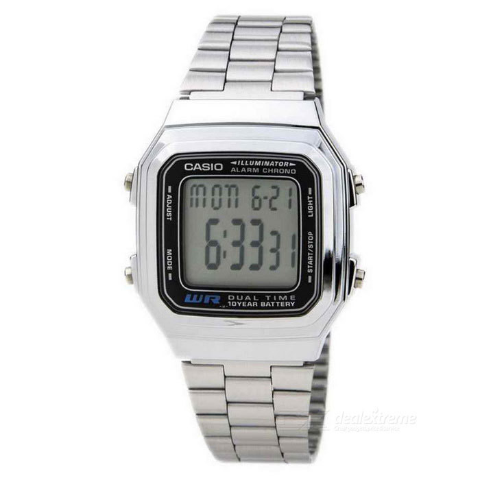 Reloj casio collection a178wa-1a estilo retro - cronografo multifuncional - acero inoxidable